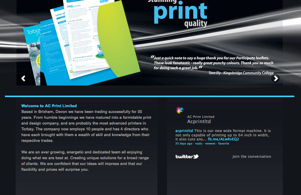 AC Print Ltd Website now LIVE!