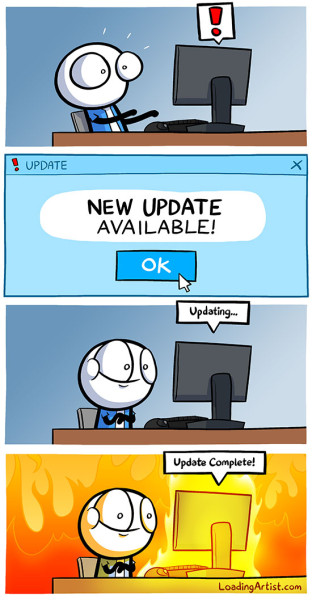 """New Update"" comic by Loading Artist. Copyright loadingartist.com"