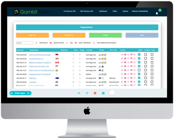 Gambit Nash IP tracking dashboard lead capture - £95 + VAT per month no contract identify companies that visit your website